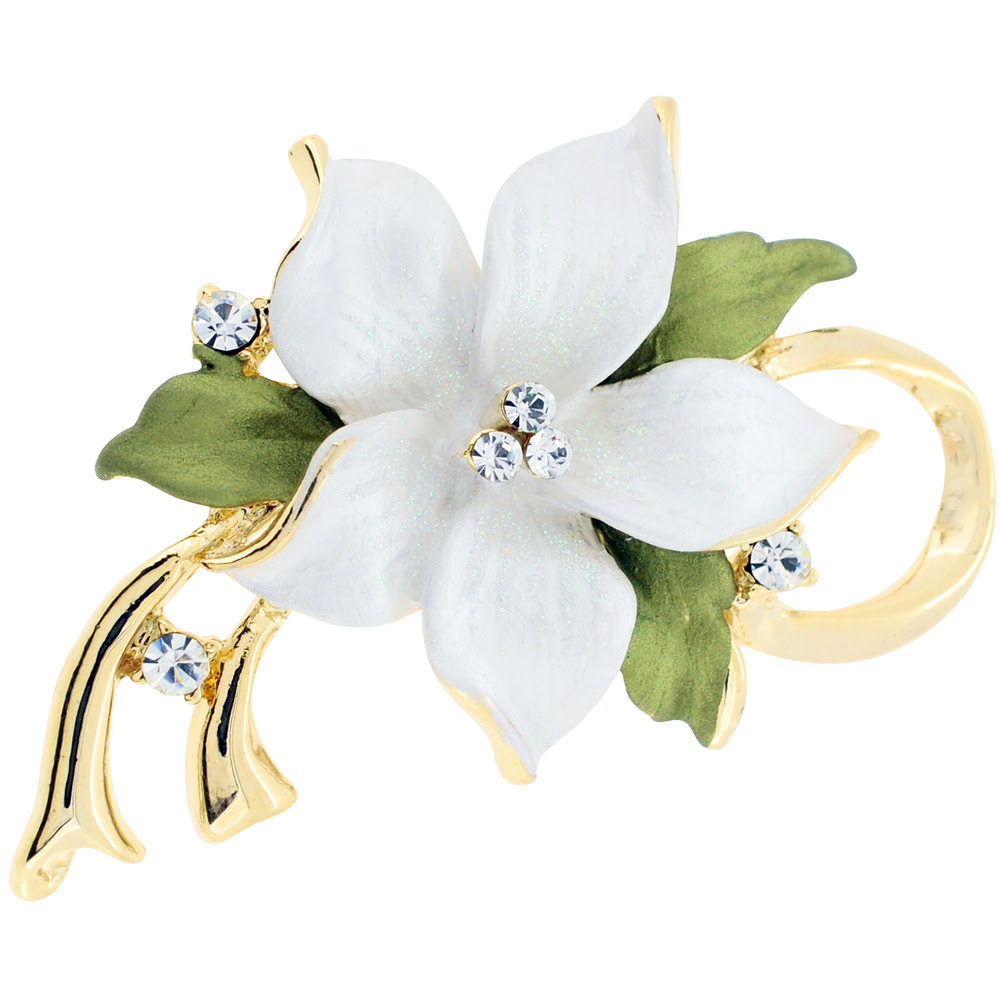 White Poinsettia Christmas Flower Swarovski Crystal Pin Brooch And Pendant Fantasyard Costume Jewelry Accessories