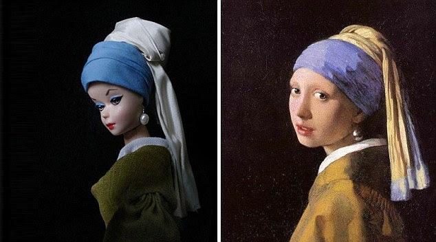 Menina com o brinco de pérola: A pintura é uma das obras-primas pintor holandês Johannes Vermeer e artista Jocelyne Grivaud recriou a cena uma Barbie recatada procura