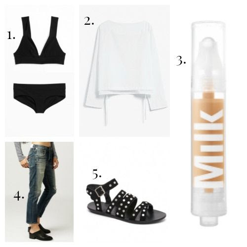 And Other Stories Bikini - Camilla Blouse - Milk Makeup Foundation - Citizens of Humanity Jeans - Loeffler Randall Sandals