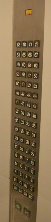 English: Elevator buttons in a typical freight...