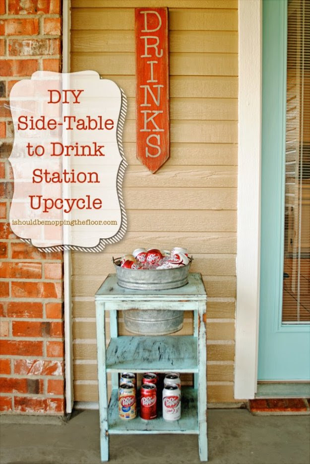 DIY Porch and Patio Ideas - DIY Drink Station - Decor Projects and Furniture Tutorials You Can Build for the Outdoors -Swings, Bench, Cushions, Chairs, Daybeds and Pallet Signs  http://diyjoy.com/diy-porch-patio-decor-ideas
