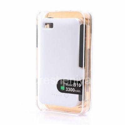 Чехол-аккумулятор для BlackBerry Z10, Белый Матовый: Заявленная емкость чехла-аккумулятора для BlackBerry Z10 — 3300 мАч! Кнопка на задней стороне чехла показывает текущий уровень оставшегося заряда.