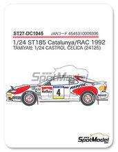 Calcas 1/24 Studio27 - Toyota Celica Marlboro Nº 4 - Carlos Sainz + Luis Moya, Armin Schwarz + Arne Hertz, Markku Alen + Ilkka Kibimaki - RAC + Rally de Cataluña 1992 - para usar con kit de Tamiya TAM24125