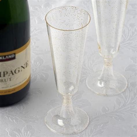 Gold Glittered Clear Disposable Plastic Cups   12 Pack   7