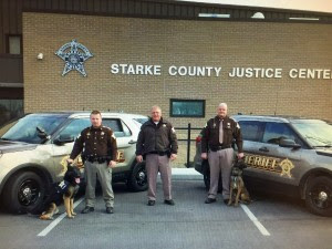 Starke County Sheriff's Office K-9 Terror and handler Det. Sgt. Rob Olejniczakm Sheriff Bill Dulin and the left, Sheriff Dulin and K-9 Zardoz and handler Det. Sgt. Adam Gray.