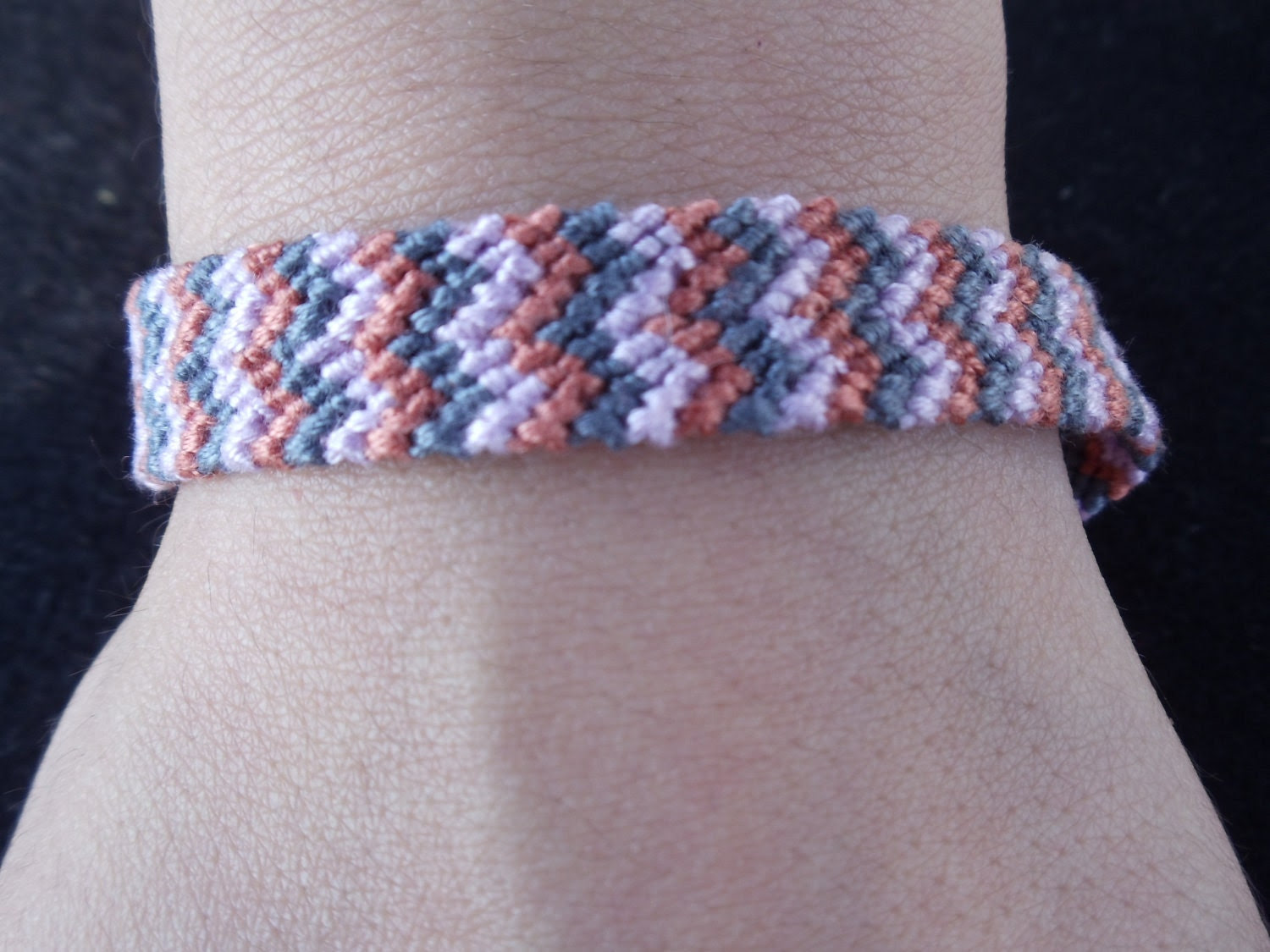 Zig-zag Friendship Bracelet (Lilac, Grey and Burnt Orange)