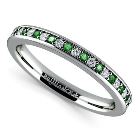 Pave Diamond & Emerald Wedding Ring in White Gold