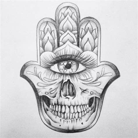 skull hamsa hand drawing skull drawing hamsa tattoo