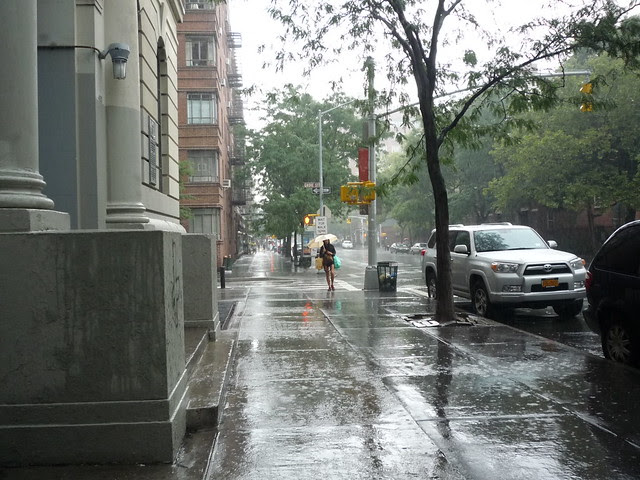 An outlying band of rain from Hurricane Irene arrives on Hudson Street, West Village