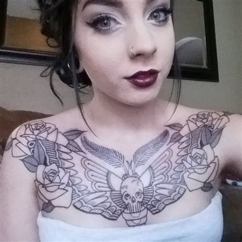 moth chest tattoos