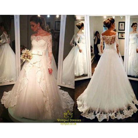 Elegant Long Sleeve Off The Shoulder A Line Wedding Dress