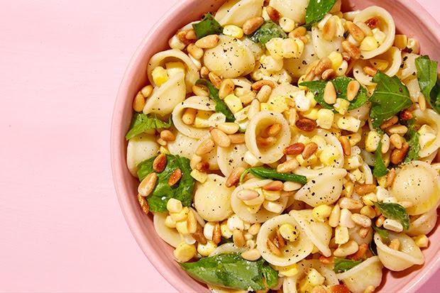Orecchiette with Corn, Basil, and Pine Nuts recipe