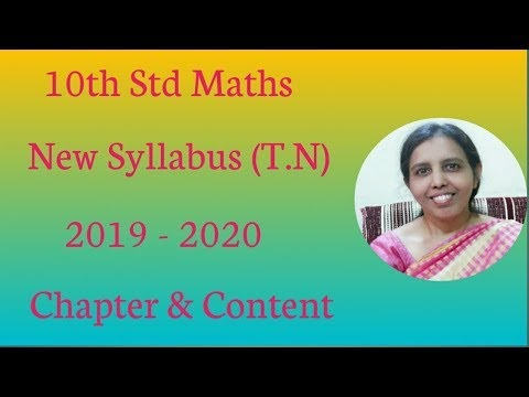 10th std maths New Syllabus (T.N) 2019 -2020 Chapter & Content