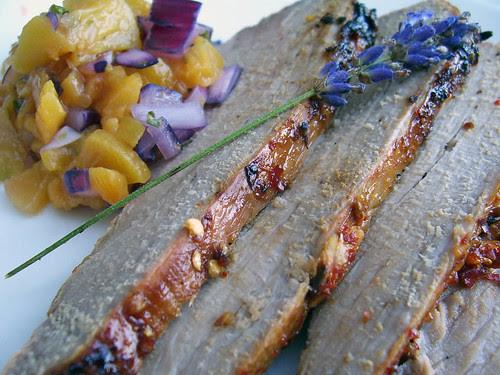 Lavender and Chilli Pork with Peach Salsa