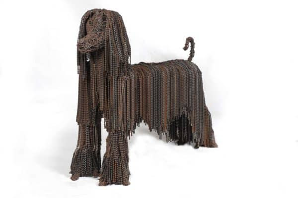 Princess 600x400 Recycled Bicycle Chains Dogs by Nirit Levav in bike friends art  with Sculpture Reused Recycled puppies Dog Chain bikes Bike Art
