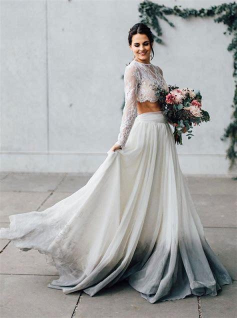 Two Piece Jewel Grey Dyed Chiffon Wedding Dress with Long
