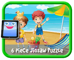 Beach Kids - 6 Piece Online jigsaw puzzle for kids