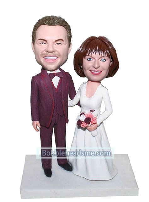 Cheap Custom Bride And Groom bobblehead dolls Arms Around