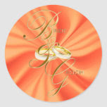 Orange Silky Satin and Gold Wedding Rings Classic Round Sticker