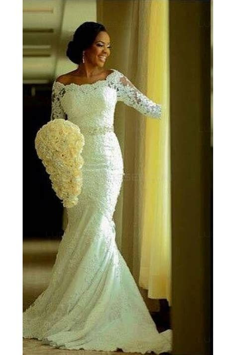 Elegant Mermaid 3/4 Length Sleeves Lace Plus Size Wedding