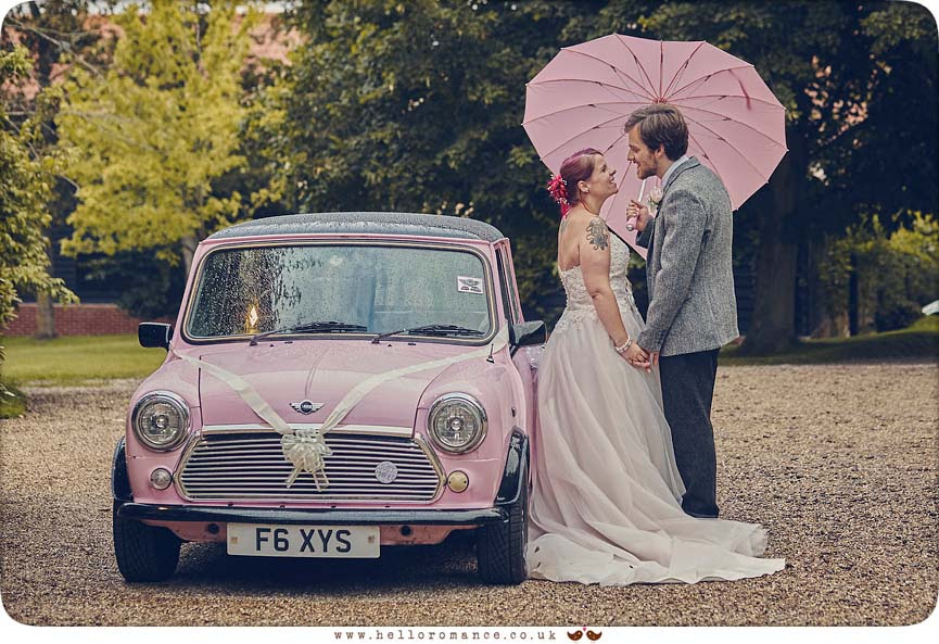 Cute pink Mini Bride & Groom wedding photo with umbrella, Barrandov Opera 2015 - www.helloromance.co.uk
