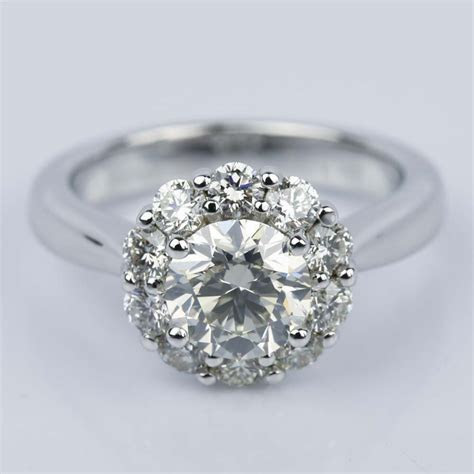 Floral Halo Diamond Engagement Ring in White Gold (1.13 ct.)