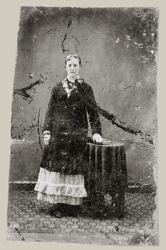 Woman and small table