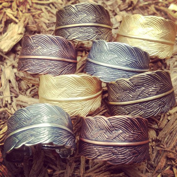 Hey, I found this really awesome Etsy listing at https://www.etsy.com/listing/123387804/feather-ring-adjustable-band-brass