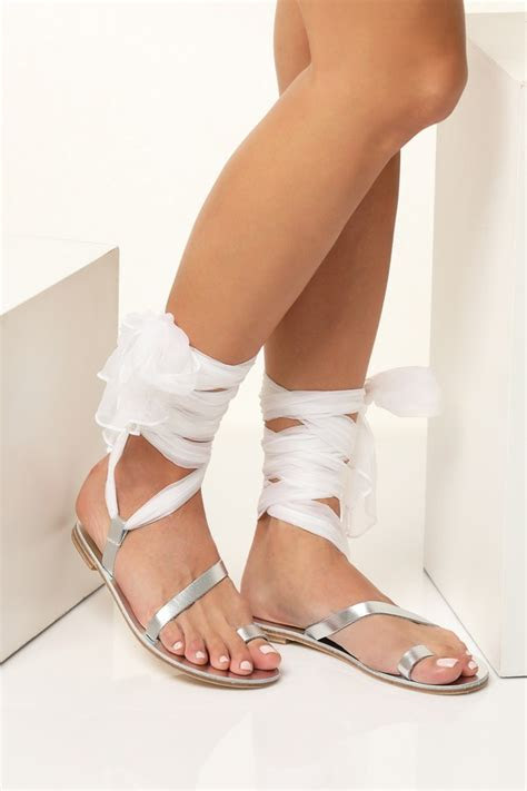 wedding flat sandals  scarf laces customizable