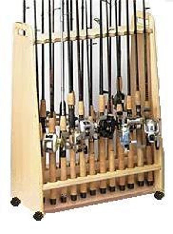 Mobile Free Standing Fishing Pole Rack - 24 Freshwater **SALE**