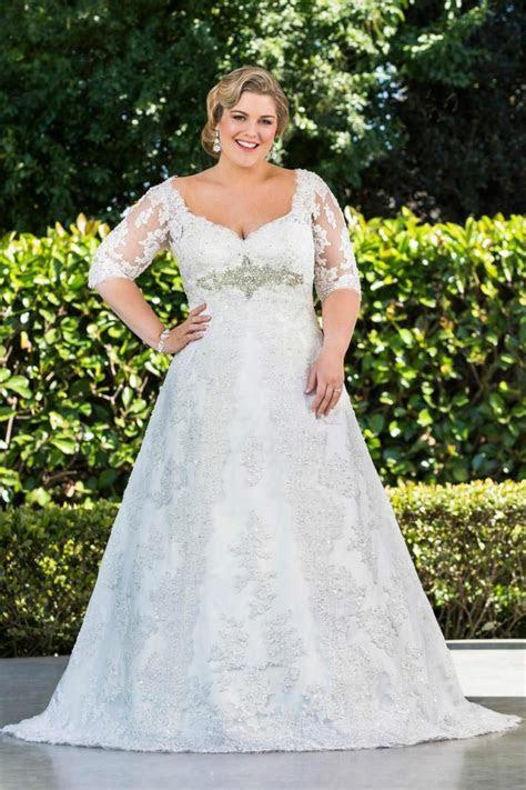 Modest Plus Size Lace 2016 Wedding Dresses Half Sleeve