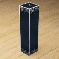 Classy Black Chalkboard Bokeh Lights & Initial Wine Box