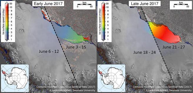 imágenes por satélite de la partición d ela plataforma Larsen C