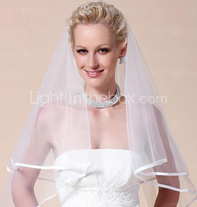 two-tier véu do casamento cotovelo com fita de borda
