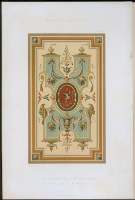 panel design lithograph from Trausnitz castle, Landshut, Bavaria