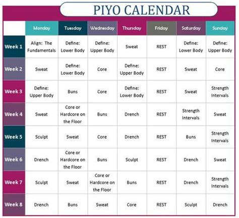 workout schedule  calendar  piyo program fitness