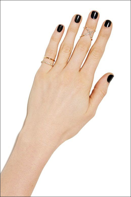 LE FASHION BLOG NASTY GAL RINGS PINKY RING MIDI DOUBLE RING BLACK CROSS SPARKLE RING NAIL POLISH MANICURE SMALL DAINTY RINGS AFFORDABLE CHEAP JEWELRY 1 photo LEFASHIONBLOGNASTYGALRINGS1.jpg