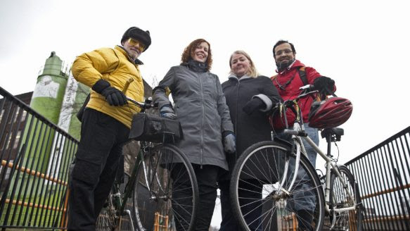 Gathering on the West Toronto Rail Path, from left, Bruce Gavin Ward, Liz Sutherland, Donna Cowan and Suhail Barot got together to develop a road safety program.