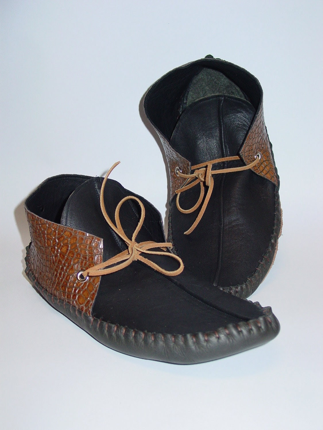 Black and Brown embossed leather moccasins for men