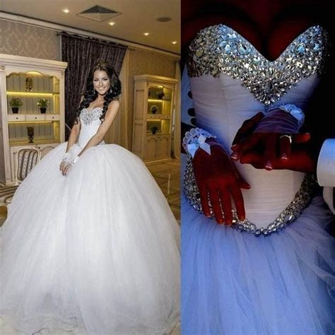 Luxury Crystal Tulle Ball Gowns Wedding Dresses With