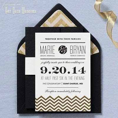 Chevron Wedding Invitation   art deco, gold, black
