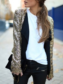 Gold Long Sleeve Sequined Coat
