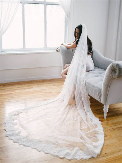 Cathedral Laced Edge Veil Beautiful Long Tulle Wedding