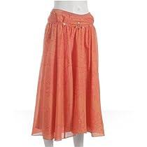 Rebecca Taylor dark orange printed beaded full skirt