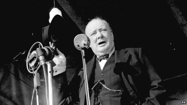 Winston Churchill making a speech