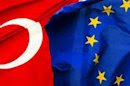 Flags of Turkey and the European Union flutter side by side in Istanbul