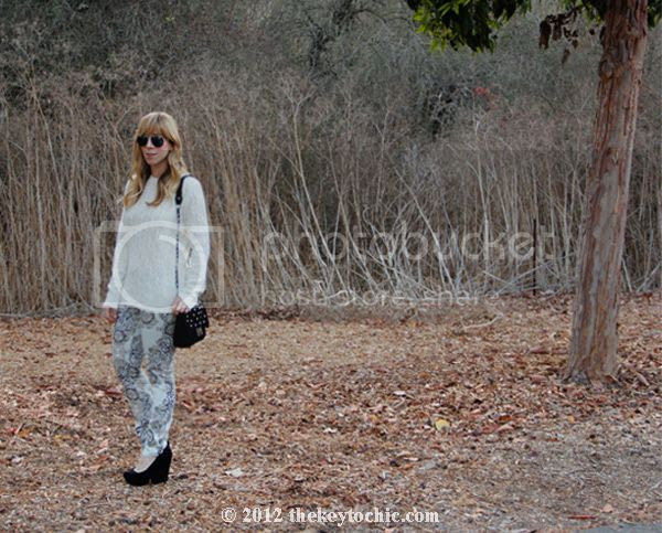Forever 21 cable knit sweater, Hot Kiss Baroque scarf print jeans, L.A. fashion blog