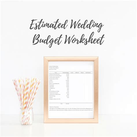 Estimated Wedding Budget Worksheet