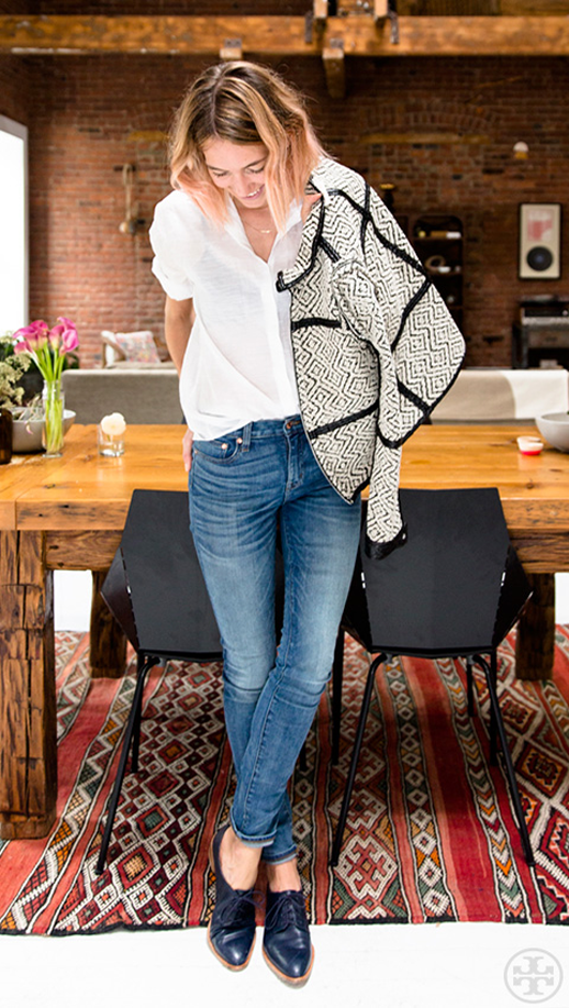 Le Fashion Blog -- Weekend Casual: Caroline Ventura In A Tory Burch Fae Print Jacket, White Button-Down Shirt, Denim & Oxfords -- West Village Apartment -- photo Le-Fashion-Blog-Weekend-Casual-Caroline-Ventura-Tory-Burch-Fae-Print-Jacket-White-Button-Down-Shirt-Denim-Oxfords-West-Village-Apartment.png