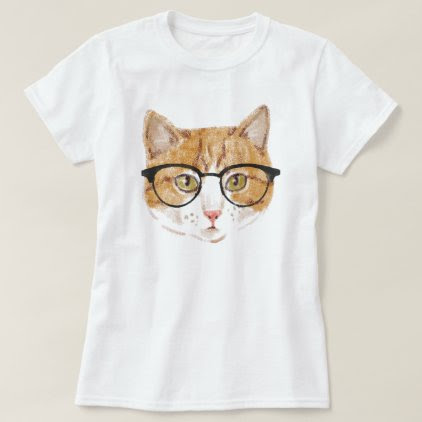 Hipster Cat (Brown & White) T-Shirt